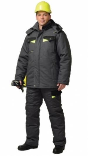 костюм рабочий ховард зимний: куртка дл.,брюки т.-серый с черным и лимон. отд. тк. rodos Сириус